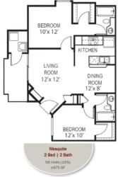Mesquite Floorplan at Garden Grove Apartments, Tempe, AZ, 85283