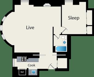 Studio floor plan at Reside on Wellington