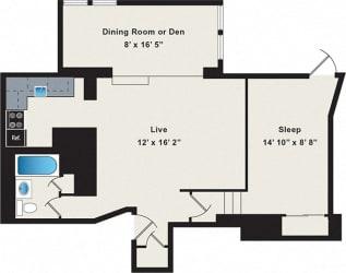 Reside on Wellington One Bedroom Floor Plan