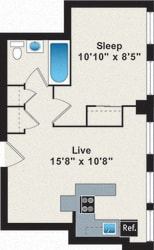 Floor Plan 1 Bedroom - Small
