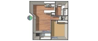 Floor Plan One Bedroom/One Bath, opens a dialog