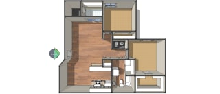 Floor Plan Two Bedroom/One Bath, opens a dialog
