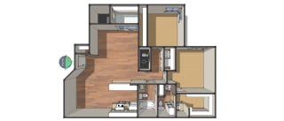 Floor Plan Two Bedroom/Two Bath, opens a dialog