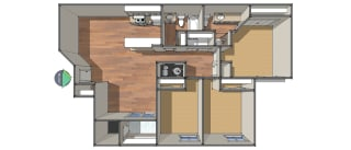 Floor Plan Three Bedroom/Two Bath, opens a dialog