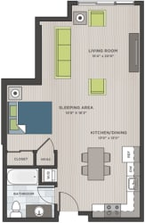 Studio two-dimensional floor plan layout. Bathroom to the left of the entry door and kitchen is to the right. Living area is behind.
