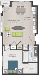 One bedroom, one bathroom two-dimensional floor plan layout. Bedroom and bathroom to the right of the layout with the living and kitchen to the right.