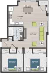 Two bedroom, one bathroom two-dimensional floor plan layout with balcony. Bedrooms are to the right of the floor plan.