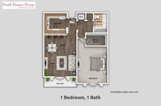 Floor Plan One Bedroom, One Bath