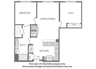 H - 2 Bedroom 1 Bath Floorplan at Windsor at Cambridge Park, 160 Cambridge Park Drive, Cambridge