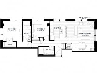 2J upgrade Floor plan at Custom House, St. Paul, MN 55101