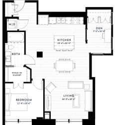 1+A Floor plan at Custom House, Minnesota, 55101