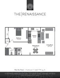 The Davinci 1 Bed 1 Bath Floor Plan at Renaissance at the Power Building, Ohio, 45202