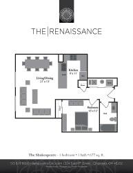 The Shakespeare 1 Bed 1 Bath Floor Plan at Renaissance at the Power Building, Cincinnati, Ohio