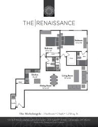 The Michaelangelo 2 Bed 2 Bath Floor Plan at Renaissance at the Power Building, Ohio, 45202