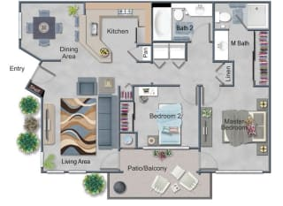 Large 2 Bed, 2 Bath Floor Plan at Renaissance Apartment Homes, Santa Rosa, 95404