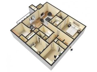 3 Bedroom 2 Bathroom 3D Floor Plan
