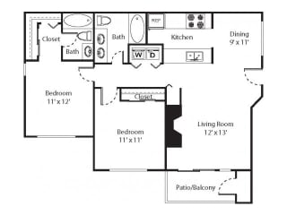 2 x 2 Floorplan at Riverwalk at Happy Valley, OR, opens a dialog