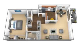 1 bedroom 1 bathroom floor plan at Charlesgate Apartments