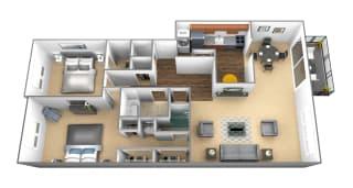 2 bedroom 2 bathroom floor plan at Charlesgate