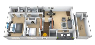 2 bedroom 1.5 bathroom floor plan at Seminary Roundtop Apartments in Towson MD