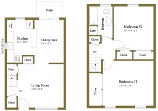 Yorktowne Townhomes in Hanover PA 2 Bedroom 1 bathroom Floorplan