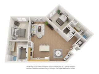 Pine 3D Floor Plan at Marquette at Piney Point, Texas, 77063
