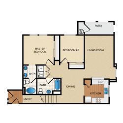 Madrid 2 Bedroom 2 Bathroom Floorplan at Santa Rosa Apartment Homes, Wildomar, CA, 92595