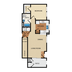 Havarra 1 Bedroom 1 Bathroom Floorplan at Santa Rosa Apartment Homes, Wildomar, CA, 92595