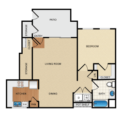 Villareal 1 Bedroom 1 Bathroom Floorplan at Santa Rosa Apartment Homes, Wildomar, CA, 92595