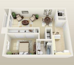 One Bedroom Floorplan at Lakeside Village Apartments, MI