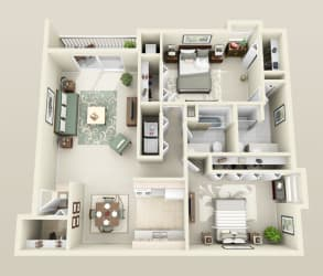 Floor plan at Lakeside Village Apartments, Clinton Township, MI 48038