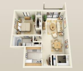 One Bedroom One Bath, 760 sq. ft. Floor Plan at Dover Hills Apartments in Kalamazoo, MI