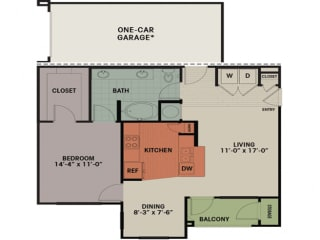 Floor Plan 1 Bedroom, 1 Bath 858 sqft A1A