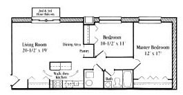 2 Bedroom 1 Bath floor plan, 750 to 820 square feet at Settler Place Apartments