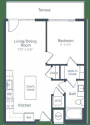 A2 Floor Plan at Highgate at the Mile, McLean, VA, 22102