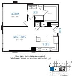 A6 1 Bed 1 Bath Floor Plan at Stratus, Seattle, WA