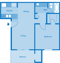 Sycamore Creek 1 Bedroom Floor Plan