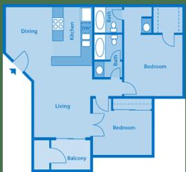 Sycamore Creek 2 Bedroom Floor Plan with Den