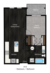 Patterson-1Bed Floor Plan Layout at The Edition Apartments, Maryland