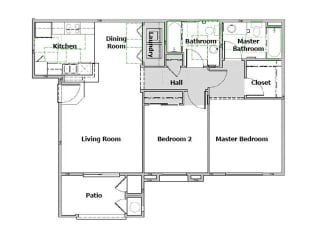 Arbor Pointe 2 Bedroom floor plan, 977 square feet with a patio
