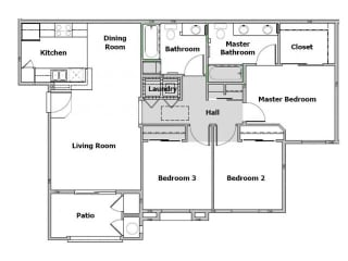 3 bedroom floor plan, 1,131 square feet with a patio.