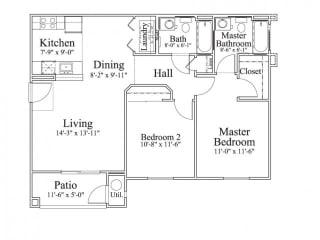 2 Bedroom 2 Bath Floor Plan, 1,016 square feet with patio