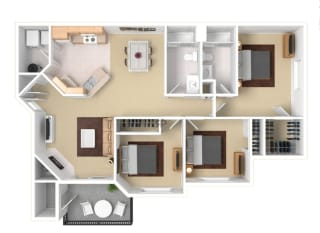 Three Bedroom Floor Plan  Apartment For Rent in Gresham OR 97080 l The Arden