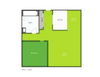 1 bedroom floorplan layout, opens a dialog