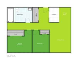 2 bedroom floorplan layout, opens a dialog