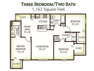 3 Bedroom 2 Bath Floor Plan, 1,162 Square Feet