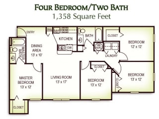 4 Bedroom 2 Bath Floor Plan, 1,358 Square Feet