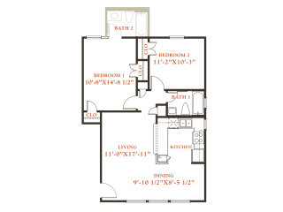 Beech floor plan, 2 bedrooms 1 bath, 796 sqaure feet at Britain Way Apartments, opens a dialog