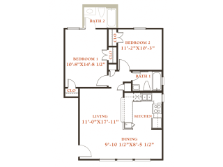 Chestnut floor plan, 2 bedrooms 2 baths, 850 sqaure feet at Britain Way Apartments, opens a dialog