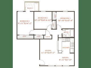 Elm floor plan, 3 bedrooms 1 bath, 968 sqaure feet at Britain Way Apartments, opens a dialog